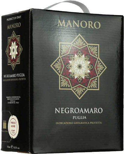 Manoro Negroamro (Vang bịch Ý 3l)  - 3L